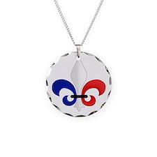 Fleur de Lis Necklace Circle Charm