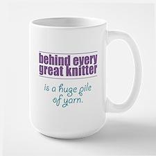 Behind Every Knitter... Large Mug