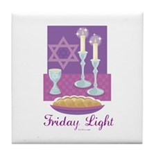 Friday Light Jewish Tile Coaster