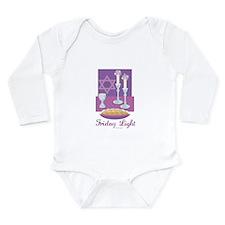Friday Light Jewish Long Sleeve Infant Bodysuit