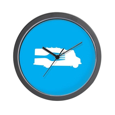 Food Truck: Side/Fork (Blue) Wall Clock