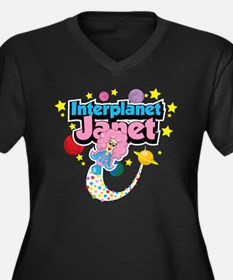 Interplanet Janet Women's Plus Size V-Neck Dark T-