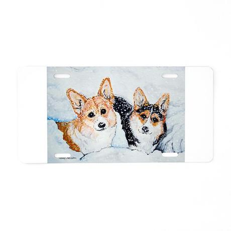 Corgi Snow Dogs Aluminum License Plate