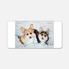 Corgi Snow Dogs Aluminum License Plate