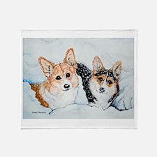 Corgi Snow Dogs Throw Blanket
