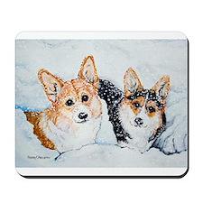 Corgi Snow Dogs Mousepad