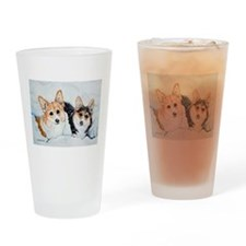 Corgi Snow Dogs Drinking Glass
