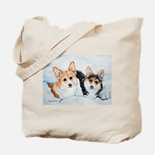 Corgi Snow Dogs Tote Bag