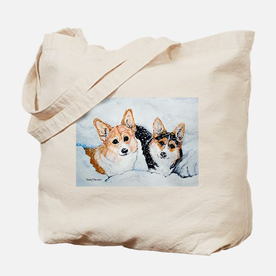 Corgi Snow Dogs Tote Bag