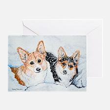Corgi Snow Dogs Greeting Card