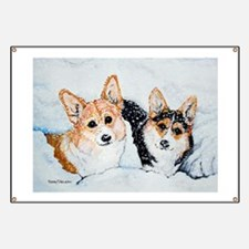 Corgi Snow Dogs Banner