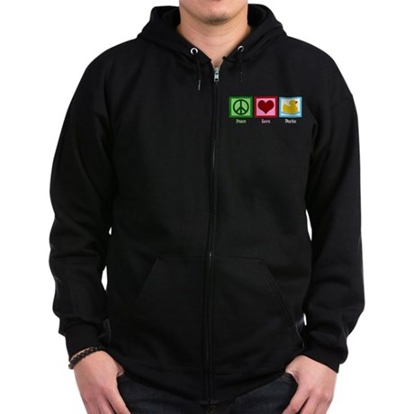 Peace Love Ducks Zip Hoodie (dark)