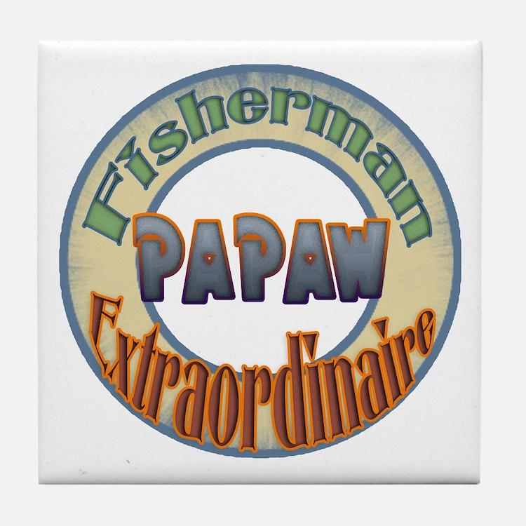 FISHERMAN PAPAW Tile Coaster