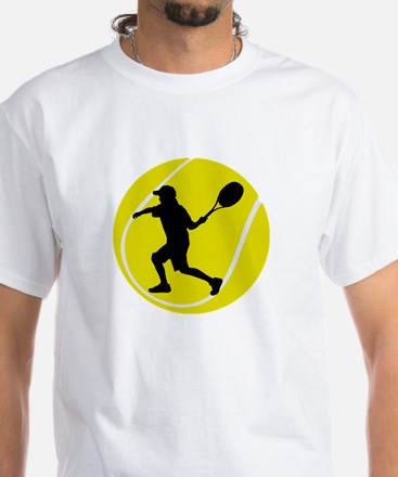 Silhouette Tennis Player Gift White T-Shirt
