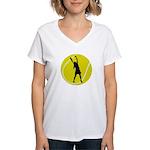 Women's Tennis Silhouette Women's V-Neck T-Shirt