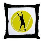 Women's Tennis Silhouette Throw Pillow