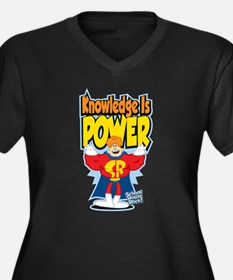 Knowledge Is Power Women's Plus Size V-Neck Dark T