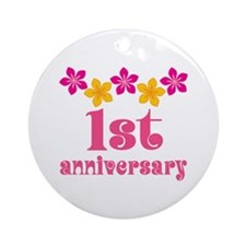 1st Anniversary Tropical Gift Ornament (Round)