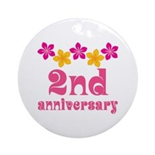 2nd Anniversary Tropical Gift Ornament (Round)