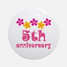 5th Anniversary Tropical Gift Ornament (Round)