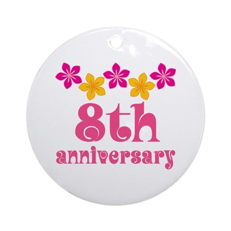 8th Anniversary Tropical Gift Ornament Round By Anniversarytshirts