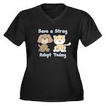 Save a Stray Women's Plus Size V-Neck Dark T-Shirt