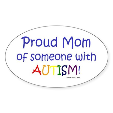 """Proud Mom"" Oval Sticker"