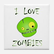 I Love Zombies Tile Coaster