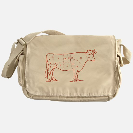 Retro Beef Cut Chart Messenger Bag