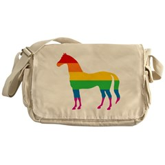 Rainbow Stripe Horse Messenger Bag