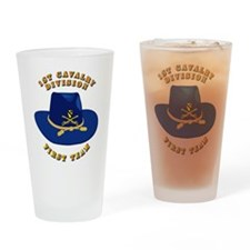 Army - 1st Cav - 1st Team Drinking Glass