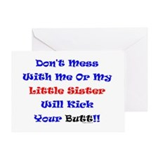 Little Sister Kick Yours Greeting Card