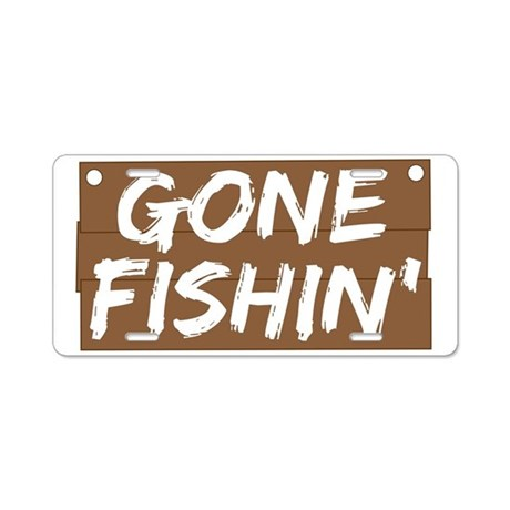 Gone fishin 39 fishing aluminum license plate by worldsfair for Fishing license plate
