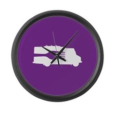 Food Truck: Side/Fork (Purple) Large Wall Clock