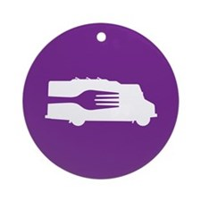 Food Truck: Side/Fork (Purple) Ornament (Round)