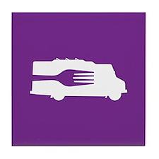 Food Truck: Side/Fork (Purple) Tile Coaster
