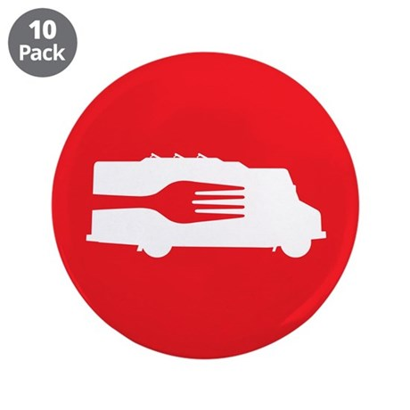 """Food Truck: Side/Fork (Red) 3.5"""" Button (10 pack)"""