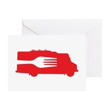 Food Truck: Side/Fork (Red) Greeting Card