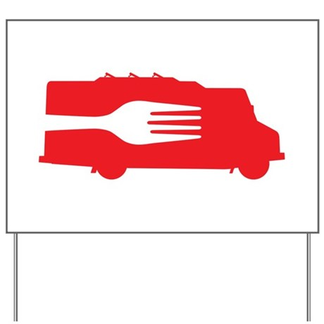 Food Truck: Side/Fork (Red) Yard Sign
