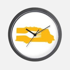Food Truck: Side/Fork (Yellow) Wall Clock