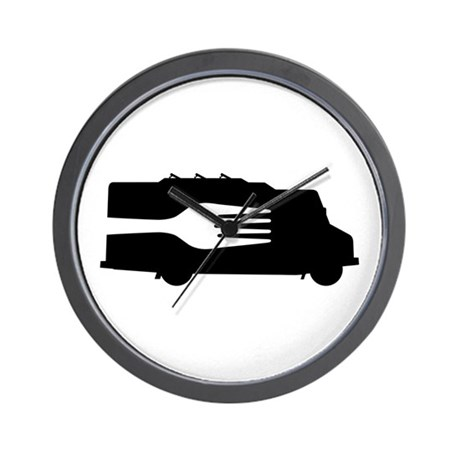 Food Truck: Side/Fork (Black/White) Wall Clock