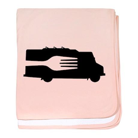 Food Truck: Side/Fork (Black/White) baby blanket