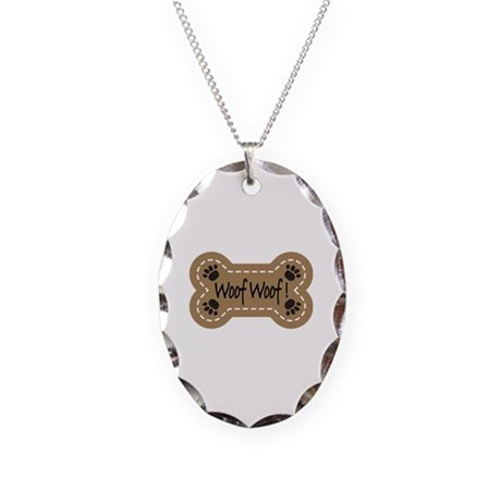 Dog Bone Paw Print Woof Necklace Oval Charm