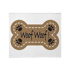 Dog Bone Paw Print Woof Throw Blanket
