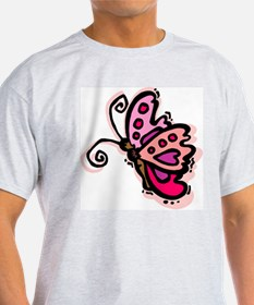 Pink Butterfly103 Ash Grey T-Shirt
