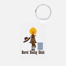 Barrel Racing Chick Keychains