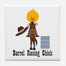 Barrel Racing Chick Tile Coaster