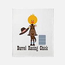 Barrel Racing Chick Throw Blanket