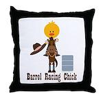 Barrel Racing Chick Throw Pillow