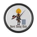 Barrel Racing Chick Large Wall Clock
